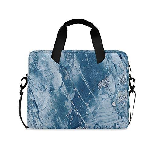 Blue Crystal Marble Texture 16 inch Laptop Shoulder Bag Travel Laptop Briefcase Carrying Messenger Bags