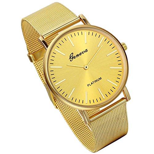 Lancardo - Reloj de lujo Movimiento de cuarzo con correa de acero inoxidable (Oro)