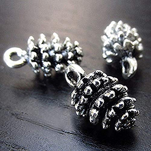 LINKLANK - Colgante de piña, 20 piezas de metal con colgante de cono de pino, ideal para hacer joyas, collar y pulsera de decoración