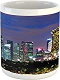Taza de viaje, Singapur Cityscape at The Night Modern Architecture Urban Life East Landmark, taza de café de cerámica para bebidas de té de agua, 11 onzas, azul nocturno
