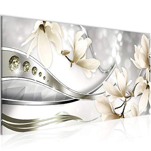 Bilder Blumen Magnolien Wandbild Vlies - Leinwand Bild XXL Format Wandbilder Wohnzimmer Wohnung Deko Kunstdrucke Beige 1 Teilig - MADE IN GERMANY - Fertig zum Aufhängen 207212c