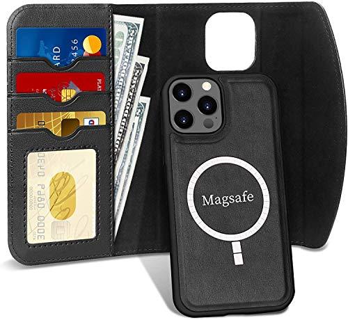 """FYY Cover iPhone 12 5G 6.1"""",Custodia iPhone 12 PRO,[2 in 1] Custodia a Portafoglio Rimovibile Flip Folio[Ricarica Senza Fili] Cover con Porta Carte per iPhone 12/12 PRO 6.1 Pollice 2020-Nero"""