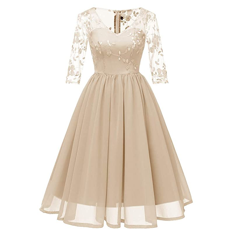 Hot Sale Womens Princess Dresses,deatu Clearance Ladies Lace Floral Embroidered 3/4 Sleeve Party Aline Swing Dress