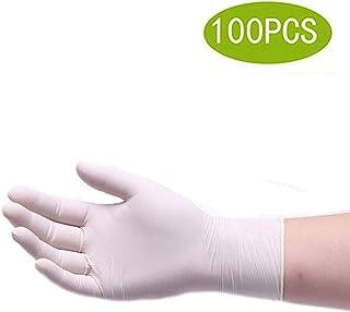 食品取扱のための使い捨て手袋、作業ニトリル手袋、ラテックスフリー手袋、使い捨て手袋、パウダーフリーの、滅菌済みでない使い捨て安全手袋、ミディアム(100個入り) (Color : White, Size : S)