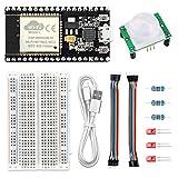 WayinTop Sensor de Movimiento Infrarrojo PIR Kit para ESP32, DIY Casa Inteligente Proyecto, Placa de Desarrollo para ESP32 NodeMCU + HC-SR501 Módulo + Resistencia + Leds + Breadboard + Jumper Cable