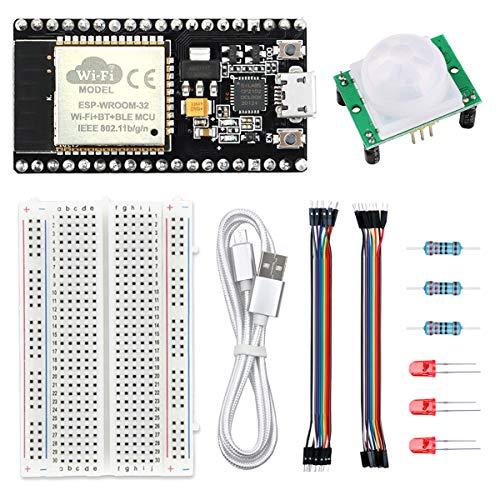WayinTop PIR Bewegungsmelder Kit für ESP32 NodeMCU Smart Home Projekt, Microcontroller CP2102 Chip für ESP32 + HC-SR501 PIR Motion Sensor + 220 Ohm Widerstand + 5mm LEDs + Steckbrett + Jumper Wire