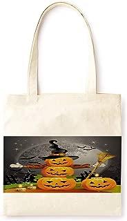 Cotton Canvas Tote Bag Modern Fairy Tale Pumpkin Lantern Farmhouse Style Halloween Party Printed Casual Large Shopping Bag for School Picnic Travel Groceries Books Handbag Design