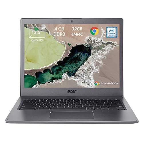 "Acer Chromebook 13 CB713-1W-333A Notebook con Processore Intel Core i3-8130U, Ram da 4GB DDR3, eMMC 32GB, Display da 13.5"" QHD IPS LCD, Scheda Grafica Intel UHD 620, Google Chrome, Grigio"