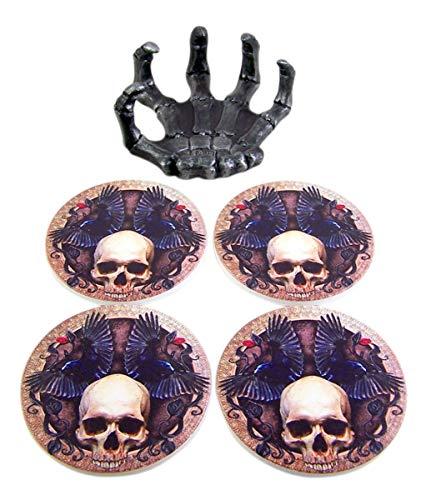 Gothic Skeleton Hand Coaster Holder, 4 Coaster Set