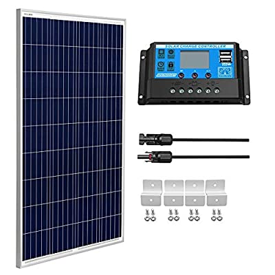 SUNGOLDPOWER 100 Watt 12V Polycrystalline Solar Panel Solar Module?1pcs 100W Polycrystalline Solar Panel Solar Cell Grade A +20A LCD PWM Charge Controller Solar+Solar Panel Connector Extension Cables
