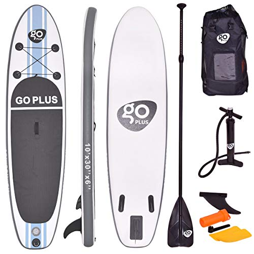 COSTWAY Tavola da Surf Gonfiabile, Stand Up Paddle Board, Pompa e Zaino Inclusi, 305 x 76 x 15 cm