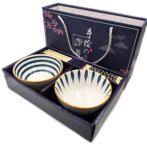 Geschirr Set aus Porzellan mit 2 Paar Essstäbchen Japan Design Schüssel Set 2 Schalen für Sushi Nudel Geschirr Handbemaltes