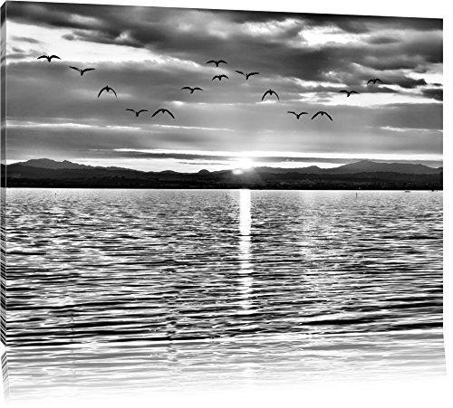 Pixxprint See Abenddämmerung / 100x70cm Leinwandbild bespannt auf Holzrahmen/Wandbild Kunstdruck Dekoration