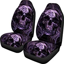 Amzbeauty Purple Skull Printed Front Seat Cover 2 Pcs, Universal Vehicle Seat Protector Mat Covers, Fit Most Cars, Sedan, SUV, Van Truck