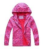 YoungSoul Chaqueta Impermeable para Niña - Cortavientos con Forro Polar y Capucha- Abrigo Deportivo Primavera Otoño, Rojo, 7-8 años/130