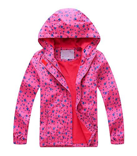 YoungSoul Chaqueta Impermeable para Niña - Cortavientos con Forro Polar y Capucha- Abrigo Deportivo Primavera Otoño, Rojo, 9-10 años/140