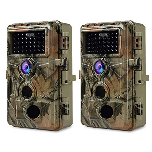 2pcs BlazeVideo Fotocamera de Caccia con audio 24MP 1296P, H,264 Video, Night Vision, 0,1s Trigger Speed IP66 Impermeabile, 120 Gradi Angel Motion Sensor Attivato 36pcs IR LED