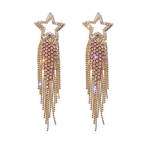 ZLININ Y-longhair - Pendientes largos para niña con forma de gota de plata 925 con aguja de diamante y estrella