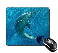 長方形のマウスパッドのマウスパッドの海のパズルデザインの灰色のイルカ