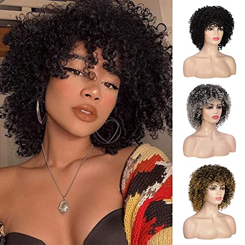 PEACOCO Afro Curly Wigs for Black Women Short Wig with Bangs Natural Looking Jerry Curl Wig Synthetic Wigs for Party Cosplay and Daily Wear (2#)