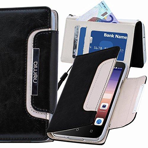 numia Huawei Ascend G730 Hülle, Handyhülle Handy Schutzhülle [Book-Style Handytasche mit Standfunktion & Kartenfach] Pu Leder Tasche für Huawei Ascend G730 Hülle Cover [Schwarz-Weiss]