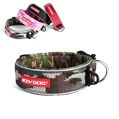 EzyDog Neo Wide - Halsband Hund breit, Hundehalsband für Große Hunde | Neopren gepolstert, reflektierend, wasserfest (L, Camo)
