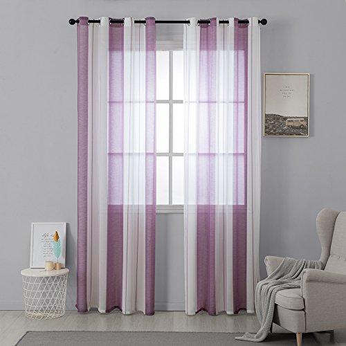 MIULEE Voile Vorhang Transparente Gardine aus Voile mit Ösen Schlaufenschal Ösenschals Transparent Fensterschal Wohnzimmer Schlafzimmer 2er Set 140x175 cm Weiß + Lila