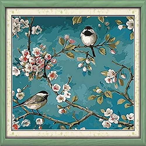 Maysurban Kit per Punto Croce Prestampato Punto Croce Kit da Ricamare Fai da Te Kit da Ricamo Completo per Principianti Home Decor Fiori e Uccelli 45x45cm