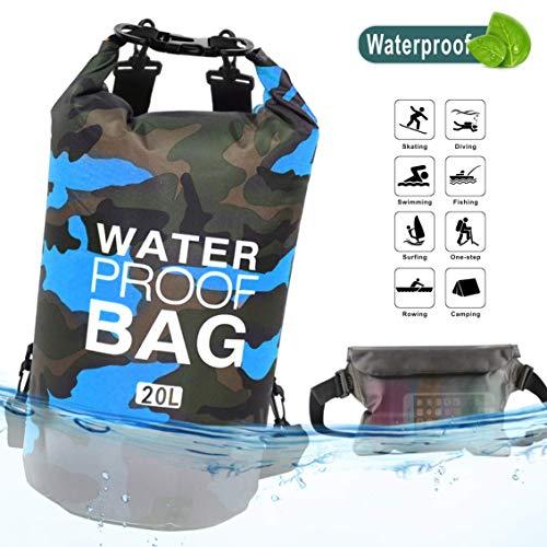 XINCHENG Bolsa Estanca Camuflaje Seca Impermeable, 10L/20L PVC de Bolsa Impermeable, Mochila Seca Flotante Bolsa Saco Seco Liviano para Kayak Paseo en Barco Canoa/Pesca/Rafting/Natación/Snowboard