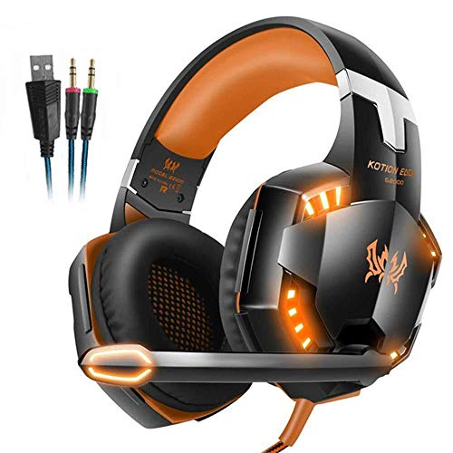 QCSMegy Auriculares Auricular For Juegos, For For PS4, Mac, PC, Ordenador, Luz del LED, con Micrófono Desmontable, con Sonido Envolvente Calidad 3.5mm Control De Volumen (Color : Orange)