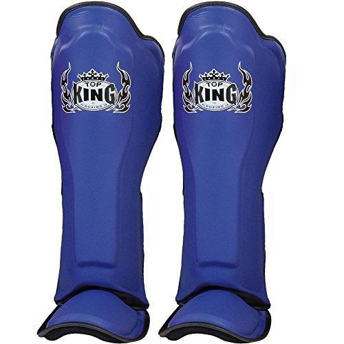 Top King Schienbeinschutz, Leder, blau, Schienbeinschoner, Shin Guards Muay Thai Größe S