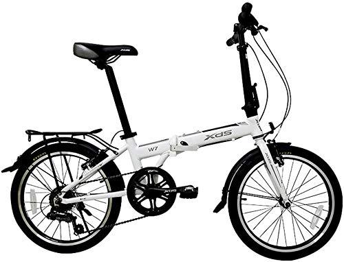 Aoyo Faltrad, Erwachsene faltbares Fahrrad, 20 Zoll 6-Gang-Aluminiumlegierung Urban Commuter Fahrrad, leichte, tragbare, Fahrräder mit Front- und Heckkotflügel (Color : White)