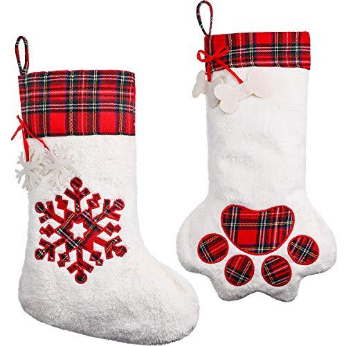 2 Piezas de Media de Navidad Colgante Calcetines de Gran Pata de Perro Media de Navidad de Copo de Nieve de Tartán para Festival, Regalo y Decoración de Mascota