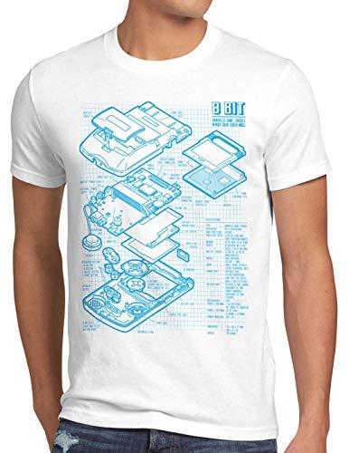 style3 8 bit Videoconsola Portátil Cianotipo Camiseta para Hombre T-Shirt, Talla:XL, Color:Blanco