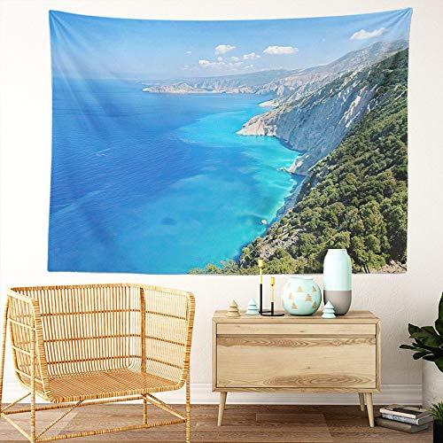 Y·JIANG Tapiz paisajista de Grecia, Cefalonia Shore Acantilados y aguas marinas costeras azules, tapiz decorativo grande, manta para colgar en la pared para sala de estar, dormitorio, 203 x 152 cm