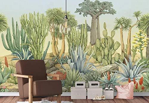 3D vliesbehang fotovlies premium fotobehang vintage cactus behang wandschilderij canvas wandschilderijen plantenolieschilderij behang woonkamer behang 200*140 200 x 140 cm.