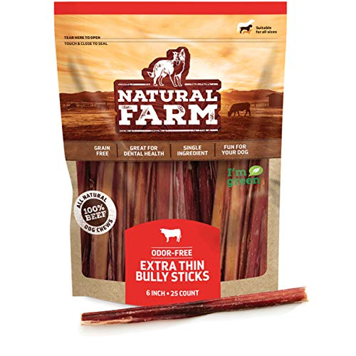 Natural Farm Bully Sticks for Small Dogs and Seniors – Extra Thin, 6-Inch Long (25-Pack) - One Ingredient: 100% Natural Beef Chews, Grass-Fed, Non-GMO, Grain-Free, Fully Digestible Beef Treats