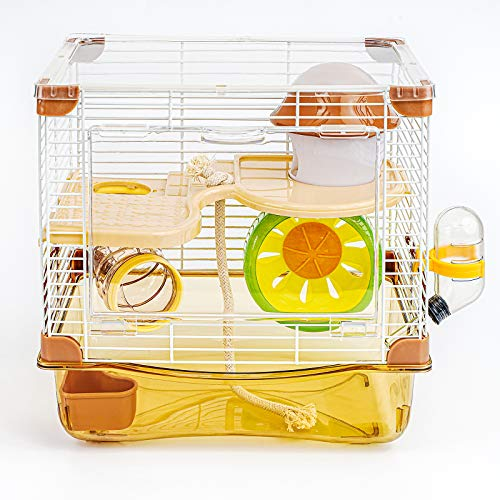 ハムスターケージ - 透明の二代目 ハムスターハウス トレーデザイン お掃除しやすい, 小動物 大型 ケージ 通気 組立式持ち手付き,ドワーフハムスター、ゴールデンハムスター、シリアハムスター、小動物に適しています