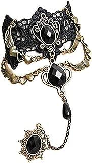 Ameesi Women Vintage Punk Gothic Lace Hand Chain Hand Harness Bracelet Slave Chain - Black