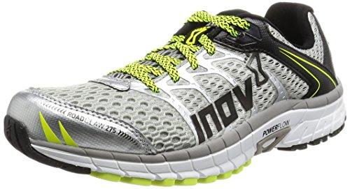 Inov-8 Men's Road Claw 275 Running Shoe, Silver/Grey/Neon Yellow, 8 E US