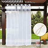 PONY DANCE Wide Outdoor Curtain - 84 inches Long Window Sheer Eyelet Net Panels with Tieback Waterproof for Patio/Gazebo/Balcony, Single Piece, W 100' x D 84', White