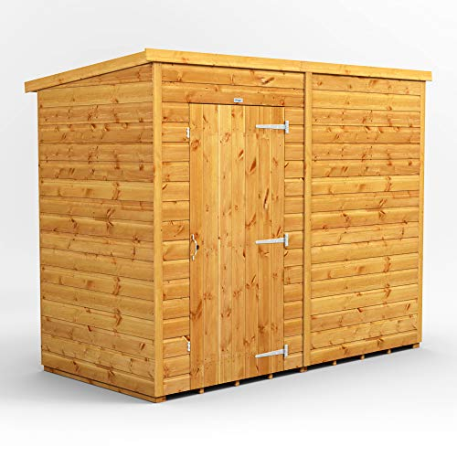POWER | 8x4 Windowless Pent Wooden Garden Shed | Shiplap Sheds | Super Fast Delivery | Size 8 x 4