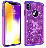 Glitter Bling Sparkle Shockproof Protective Hard Soft Case Cover for Apple iPhone Pardon My Frenchie French Bulldog (Purple, for Apple iPhone 6 Plus/iPhone 6s Plus)
