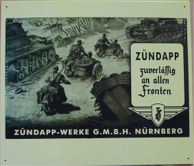 Blechschild Motorrad Zündapp Militär Panzer 2 WK ca. 33 x 39 cm