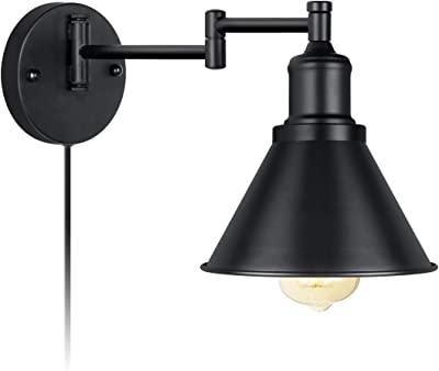 Wall Light Plug-in Cord Industrial Wall Sconce Black Finish (1 Light)