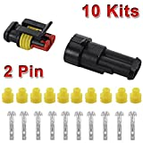 XCSOURCE 10 Set 5 Kit Car Coche 2 Pin Way Superseal Impermeable Terminal eléctrico Conector de Cable Enchufe para Motocicleta Scooter Auto Truck Marine MA478