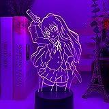 3D Led Luz De Noche Tacto Colorido Luz Anime Waifu Toradora Taiga Aisaka Dormitorio Decoración Regalo Niños Amigos Cumpleaños Navidad Juguetes
