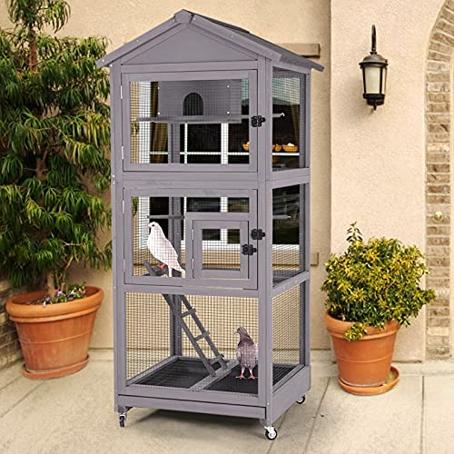 Wooden Bird Aviary Parrot Cage Large Bird House for Parakeet,Cockatiel,Macaw and Any Small Birds,Outdoor Dove cage with Perch,Removable Pull Out Tray