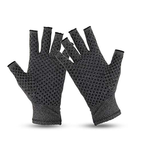 TENGGO 1 Pair Anti Arthritis Handschuhe Ease Pain Relief Handschuhe Unterstützen Outdoor Fitness Halb-Felsen Gloves-M