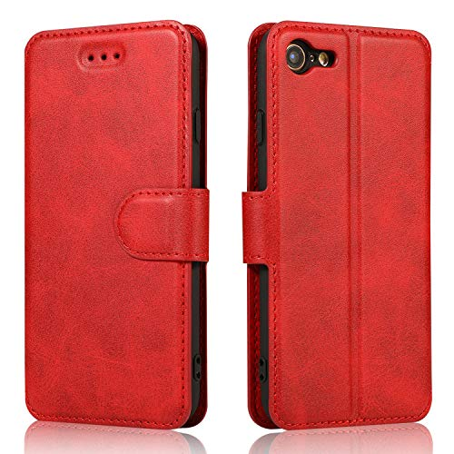 QLTYPRI iPhone 7 Plus iPhone 8 Plus Case Premium PU Leather Simple Wallet Case TPU Bumper [Card Slots] [Kickstand] [Magnetic Closure] Shockproof Flip Cover for Apple iPhone 7P iPhone 8P - Red